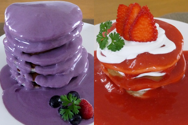 ウベパンケーキとストロベリーショートケーキパンケーキ