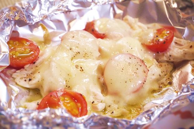 トースターで5分!ささみとトマトのチーズ焼き